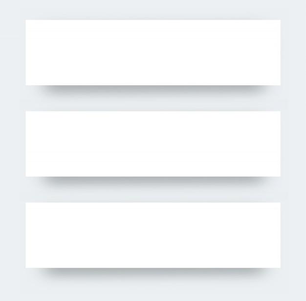 Drei breite flyer realistische modell.papier poster design für die förderung. realistisches modell des weißbuchs Premium Vektoren
