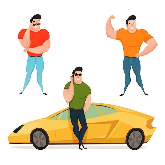 Drei brutaler brunet-macho Kostenlosen Vektoren