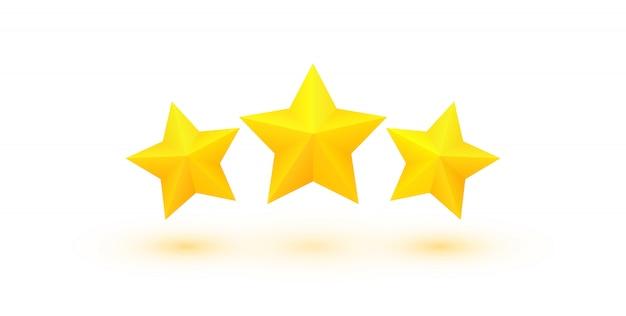 Drei fette goldene sterne mit schatten. ausgezeichnete qualitätsbewertung. Premium Vektoren