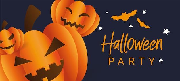 Drei furchtsame halloween-kürbise mit gesichtern auf einem dunkelblauen hintergrund mit schlägern. Premium Vektoren