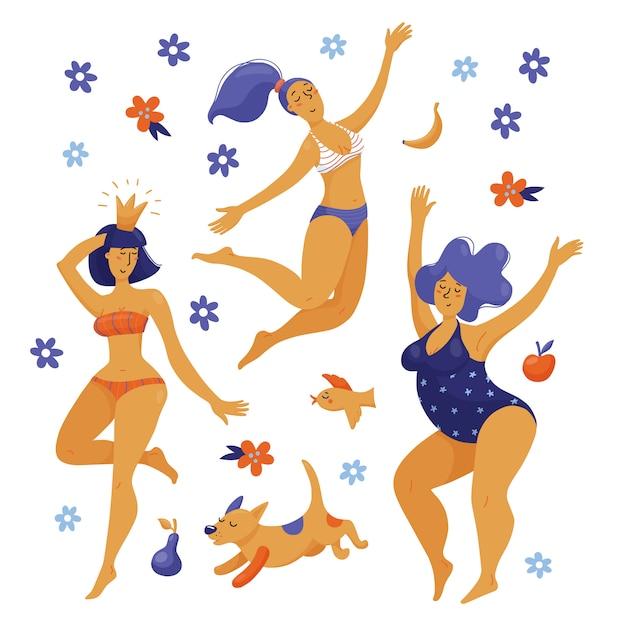 Drei glückliche tanzende körperpositive frauen, mädchen in schwimmanzügen, bikini Premium Vektoren
