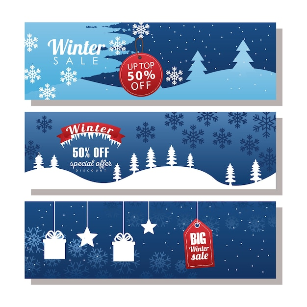 Drei große winterverkaufsbeschriftungen mit tags und band im schneelandschaftsillustrationsdesign Premium Vektoren