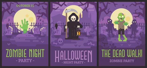 Drei halloween-poster mit friedhofsszenen Premium Vektoren