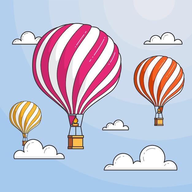 Drei heißluftballone im blauen himmel mit wolken. flache linie kunst vektor-illustration. abstrakte skyline. konzept für reisebüro, motivation, geschäftsentwicklung, grußkarte, banner, flyer. Premium Vektoren