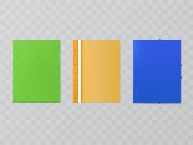 Drei helle plastikordner - set von büromaterial. akten, umschläge mit selbsteinband Kostenlosen Vektoren