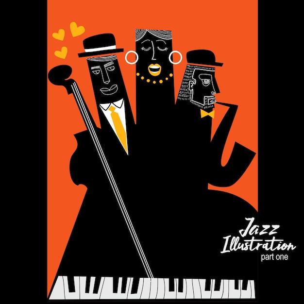 Drei jazz-musiker-illustration Premium Vektoren