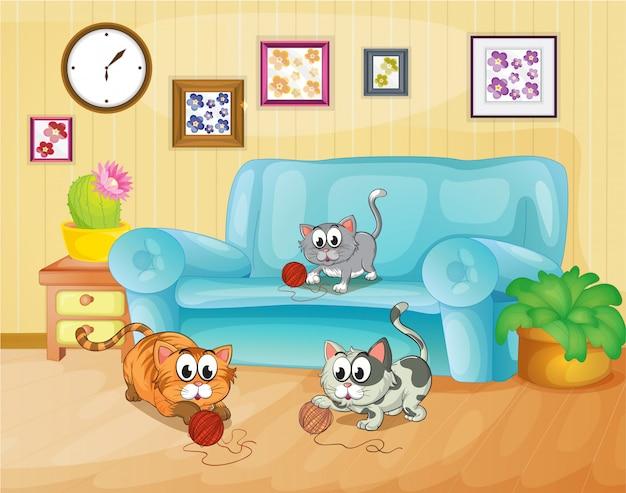 Drei katzen spielen im haus Kostenlosen Vektoren