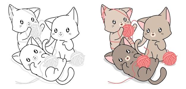 drei katzen spielen mit garnkugeln cartoon malvorlagen für