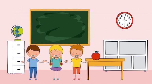 Drei kinder in einer schule mit schulelementillustration Kostenlosen Vektoren
