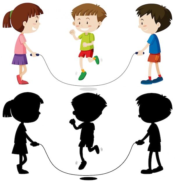 Drei kinder spielen springseil in farbe und in umriss und silhouette Kostenlosen Vektoren