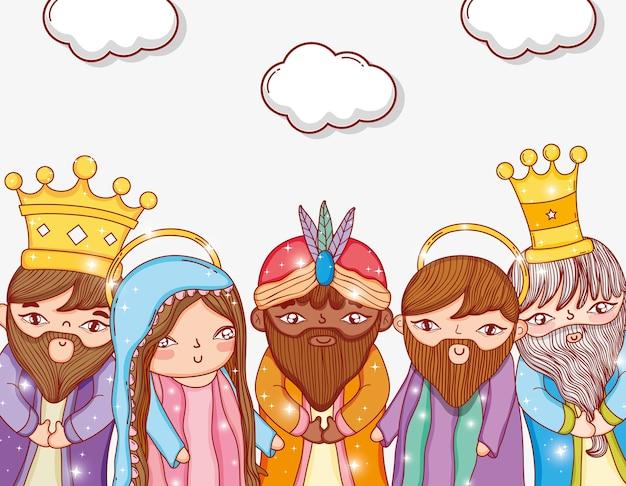 Drei könige mit joseph und maria mit wolken Premium Vektoren