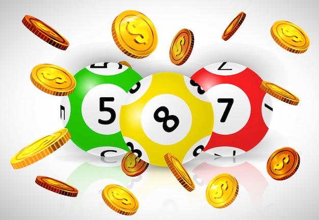 Drei lotteriebälle und fliegende goldene münzen auf weißem hintergrund. Kostenlosen Vektoren