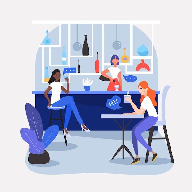Drei mädchen, die in einem schönen café, restaurant oder einer bar sitzen und trinken. Premium Vektoren