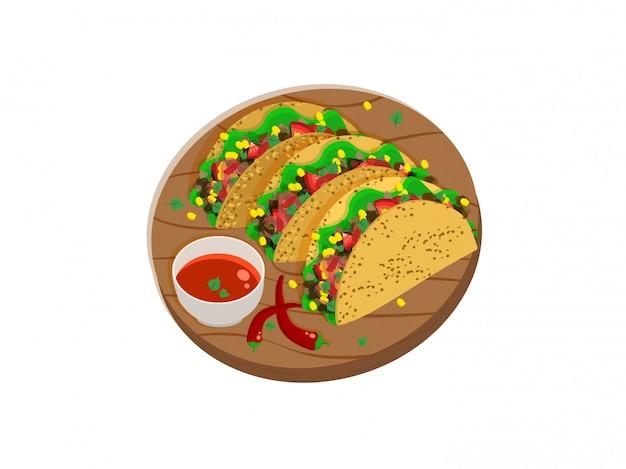 Drei mexikanische tacos auf einem holztablett mit scharfer sauce und chilischoten Premium Vektoren