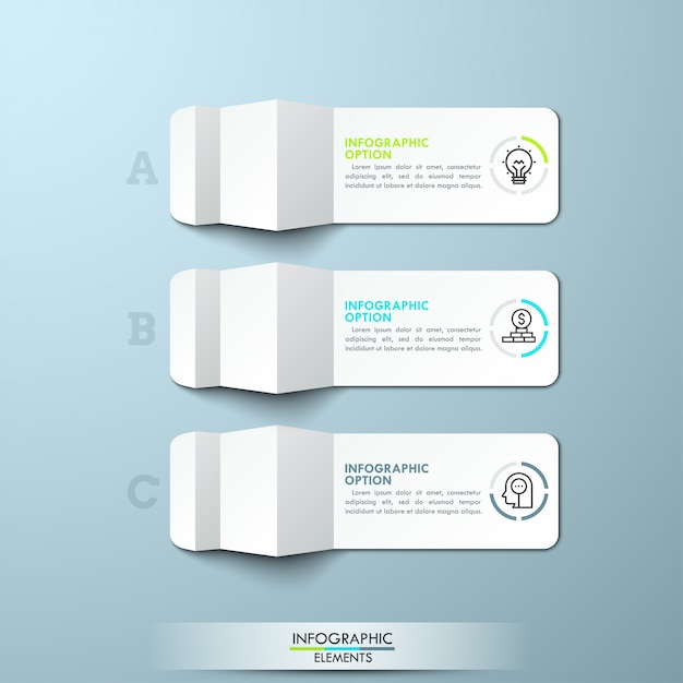 Drei mit buchstaben gekennzeichnete stücke gefaltetes weißbuch mit dünner linie ikonen und textboxen. minimales infografik-layout. Premium Vektoren