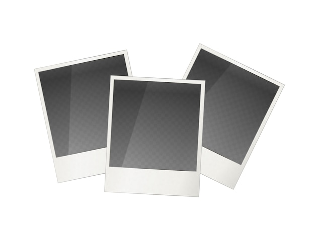 Drei realistische polaroid fotorahmen Premium Vektoren