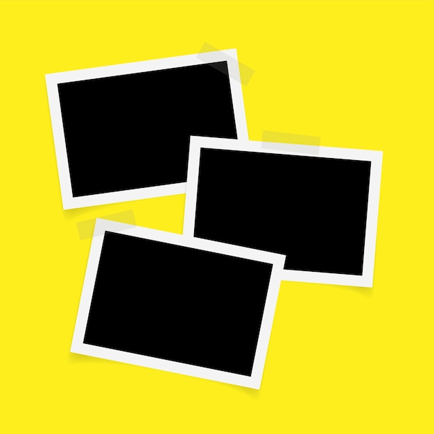 Drei rechteckfotorahmen mit klebeband Premium Vektoren