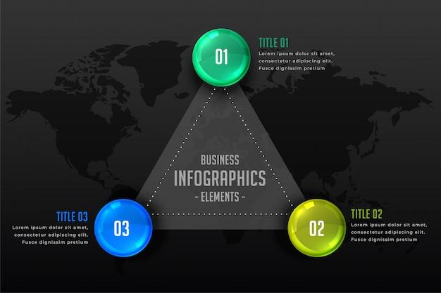 Drei schritte dunkler infographic darstellungshintergrund Kostenlosen Vektoren