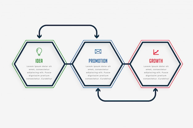 Drei schritte infografiken präsentationsvorlage Kostenlosen Vektoren