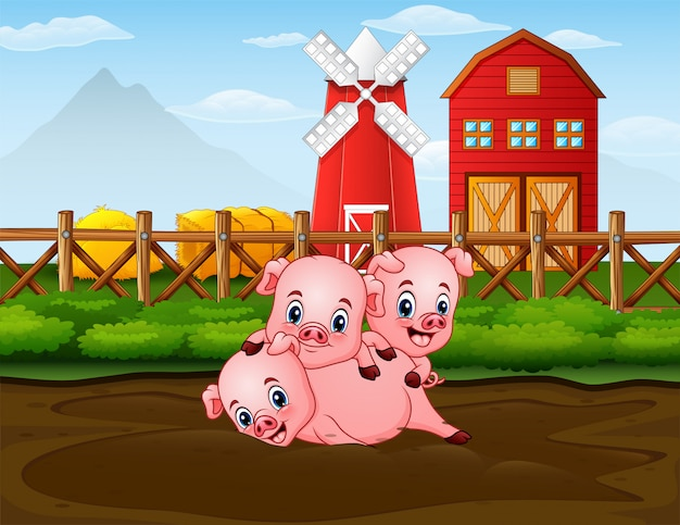 Drei schweine, die am bauernhof mit rotem barnhouse hintergrund spielen Premium Vektoren