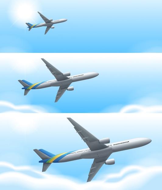 Drei szenen des flugzeugfliegens im himmel Kostenlosen Vektoren