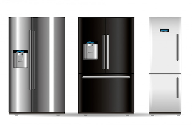 Drei vektorkühlschränke Premium Vektoren