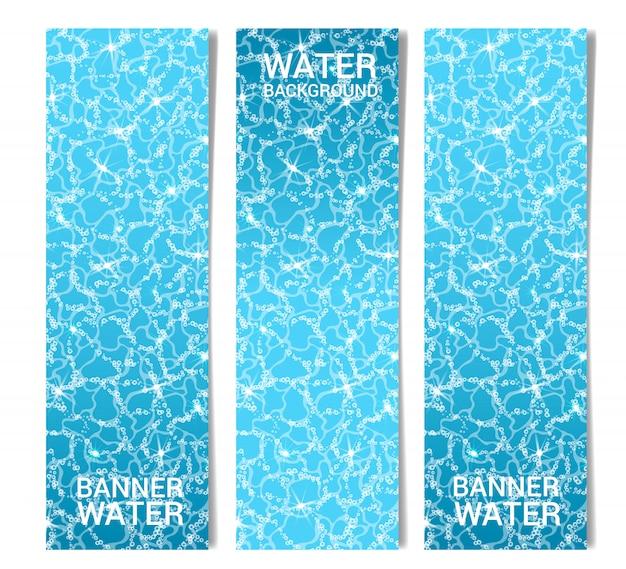 Drei vertikale darstellungen der wasseroberfläche mit luftblasen Premium Vektoren