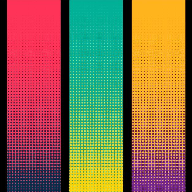 Drei vertikale halbton-banner in verschiedenen farben Kostenlosen Vektoren
