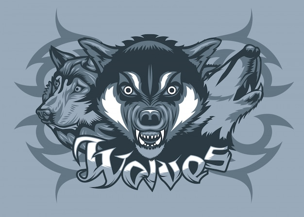 Drei wölfe greifen an Premium Vektoren