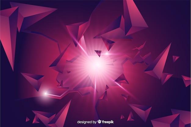 Dreidimensionale explosion mit hellem hintergrund Kostenlosen Vektoren