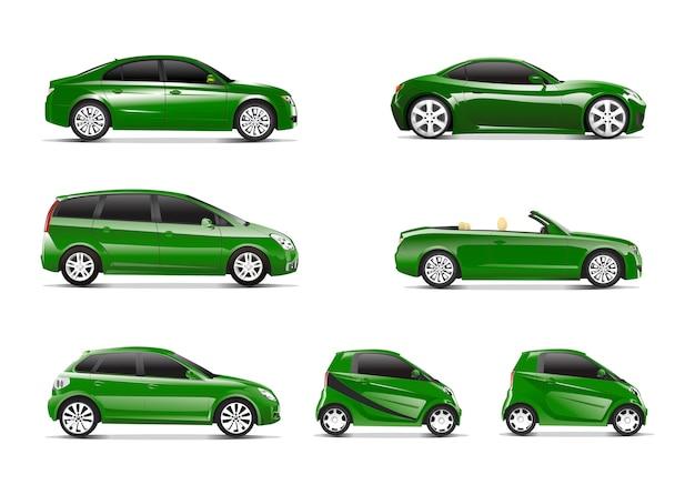 Dreidimensionales bild des grünen autos getrennt auf weißem hintergrund Kostenlosen Vektoren