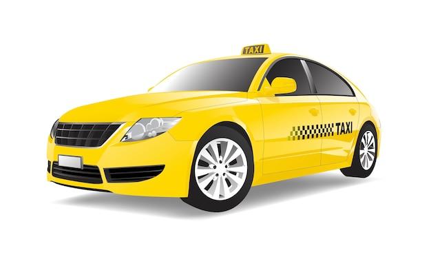 Dreidimensionales bild des taxiautos lokalisiert auf weißem hintergrund Premium Vektoren