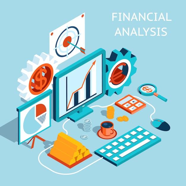 Dreidimensionales farbiges finanzanalysekonzept auf hellblauem hintergrund. Kostenlosen Vektoren
