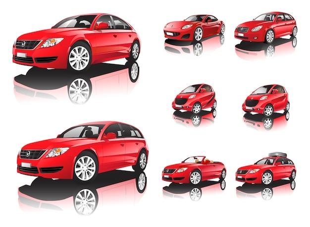 Dreidimensionales rotes auto getrennt auf weißem hintergrund Premium Vektoren