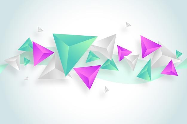 Dreiecke 3d im klaren farbhintergrund Kostenlosen Vektoren