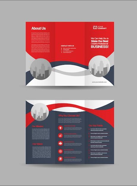 Dreifach gefaltete broschüre Premium Vektoren