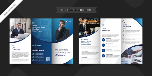 Dreifach gefaltete broschürenvorlage für unternehmen Premium Vektoren