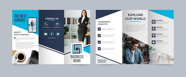 Dreifach gefaltete broschürenvorlage mit foto Kostenlosen Vektoren