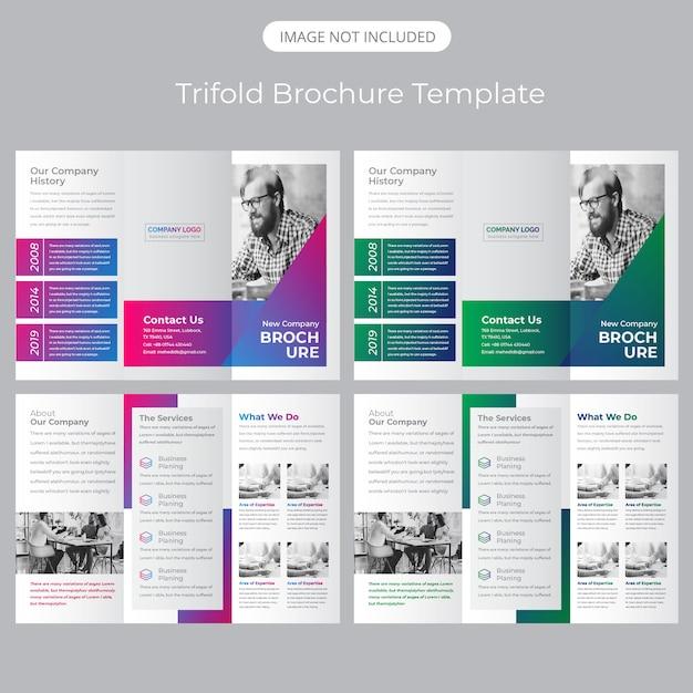Dreifach gefaltete broschürenvorlage Premium Vektoren