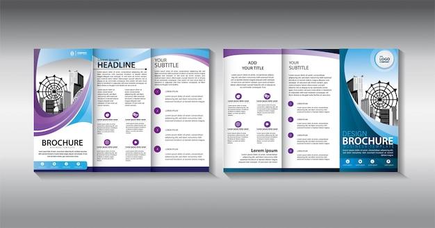 Dreifach gefaltete geschäftsschablone der blauen broschüre Premium Vektoren