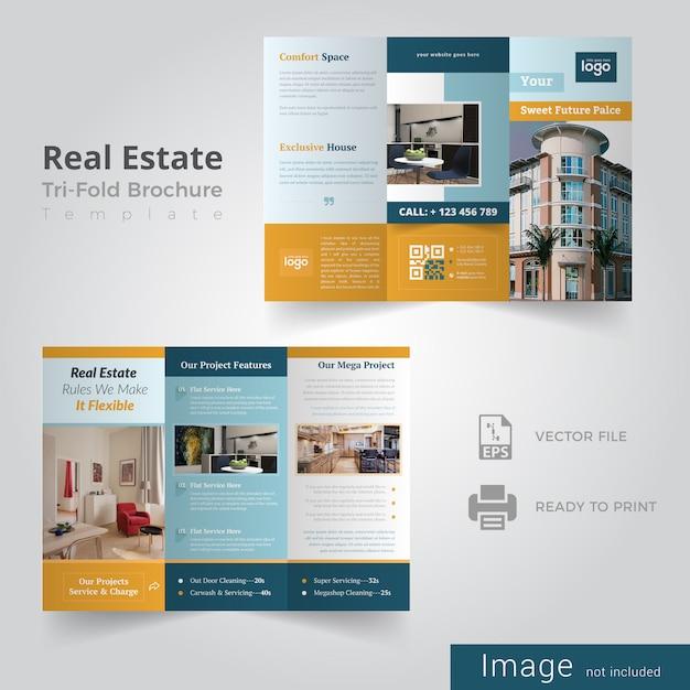 Dreifachgefaltete broschüre für immobilien Premium Vektoren