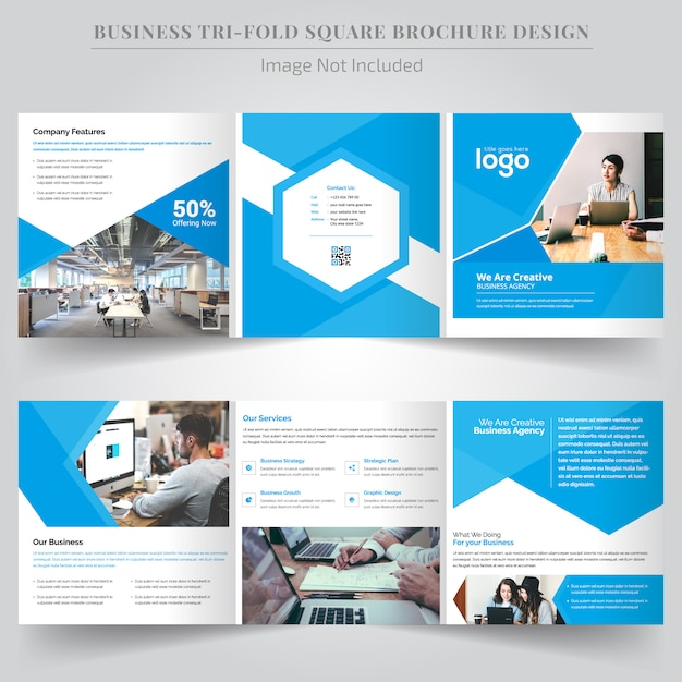 Dreifachgefaltete broschüre für unternehmen Premium Vektoren