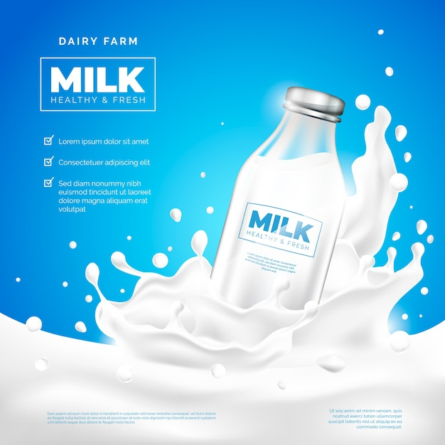 Drink ad milk company Kostenlosen Vektoren