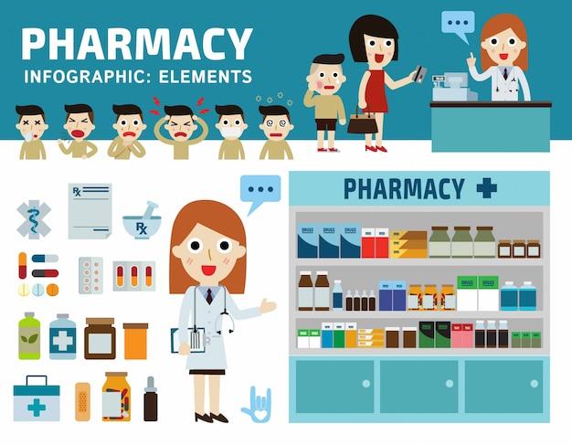 Drogen eingestellt apotheke drogerie. infographik elemente. Premium Vektoren