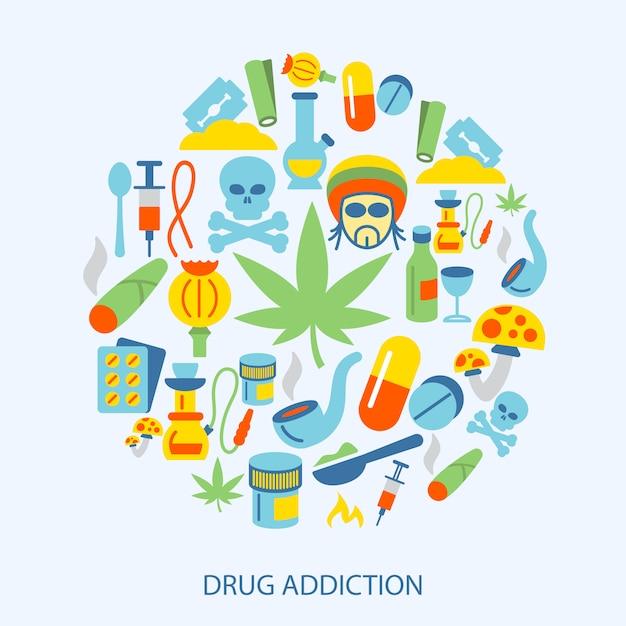 Drogen elemente flach Premium Vektoren