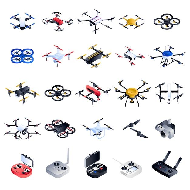 Drohne-icon-set. isometrischer satz drohnenvektorikonen Premium Vektoren