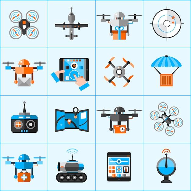 Drohne icons set Kostenlosen Vektoren