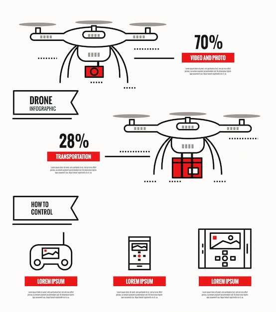 Drohne infografik sammlung Premium Vektoren