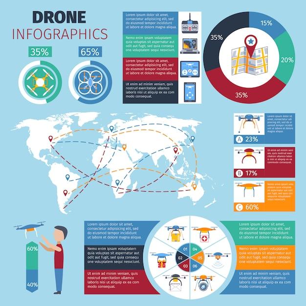 Drohne infografiken set Kostenlosen Vektoren