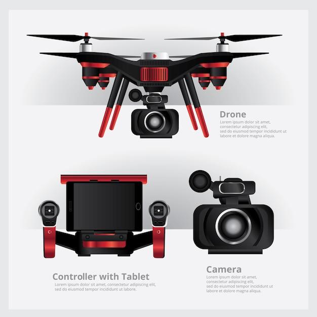 Drohne mit vdo-kamera und controller-vektor-illustration Premium Vektoren